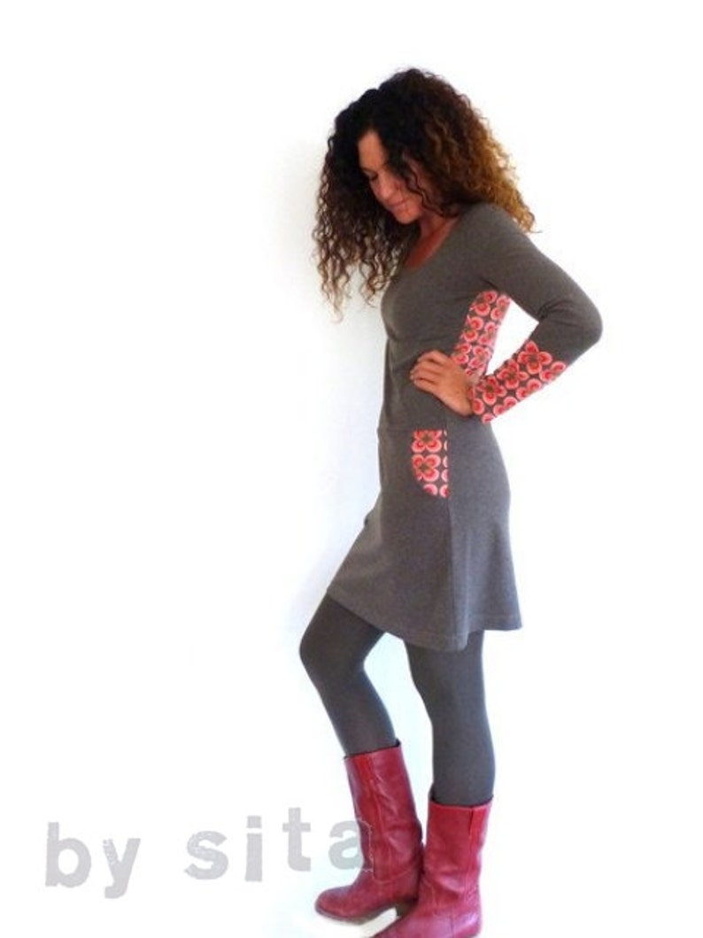 brown retro pattern Women/'s dress with pockets