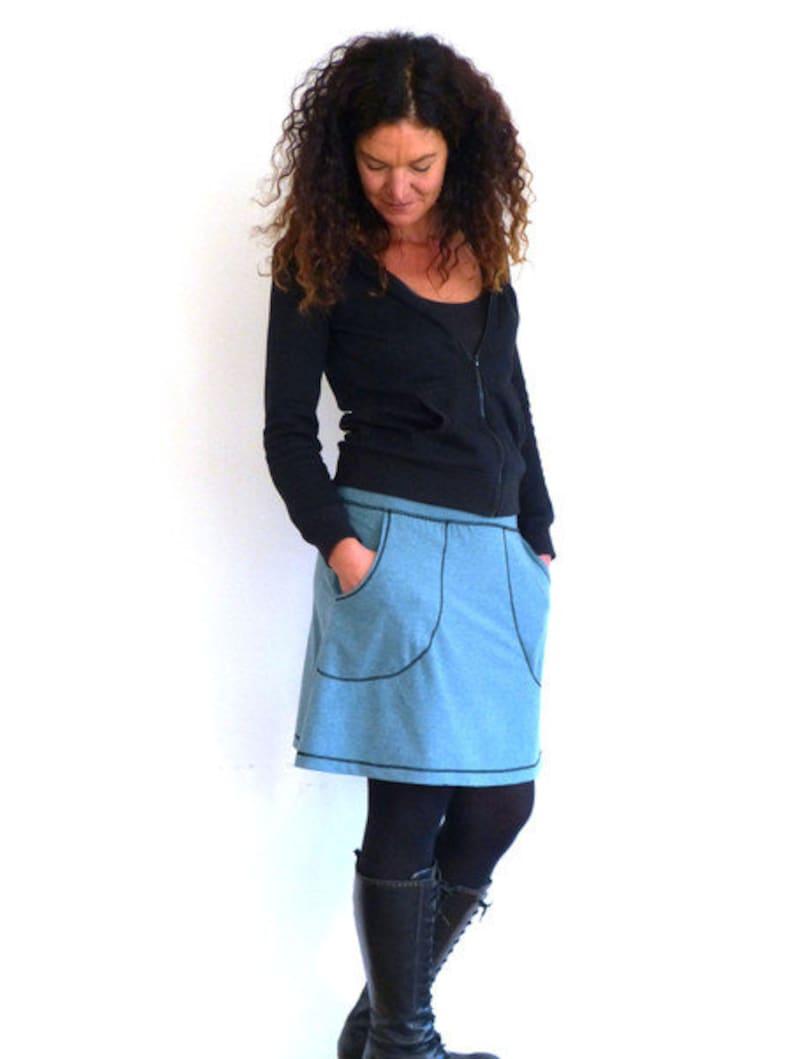 Aqua Bundrock with pockets in a-form light blue