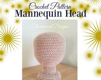 CROCHET PATTERN Adult or Large Child Size Mannequin, Head Hat Display, Nylon Crochet, Mannequin Head Pattern