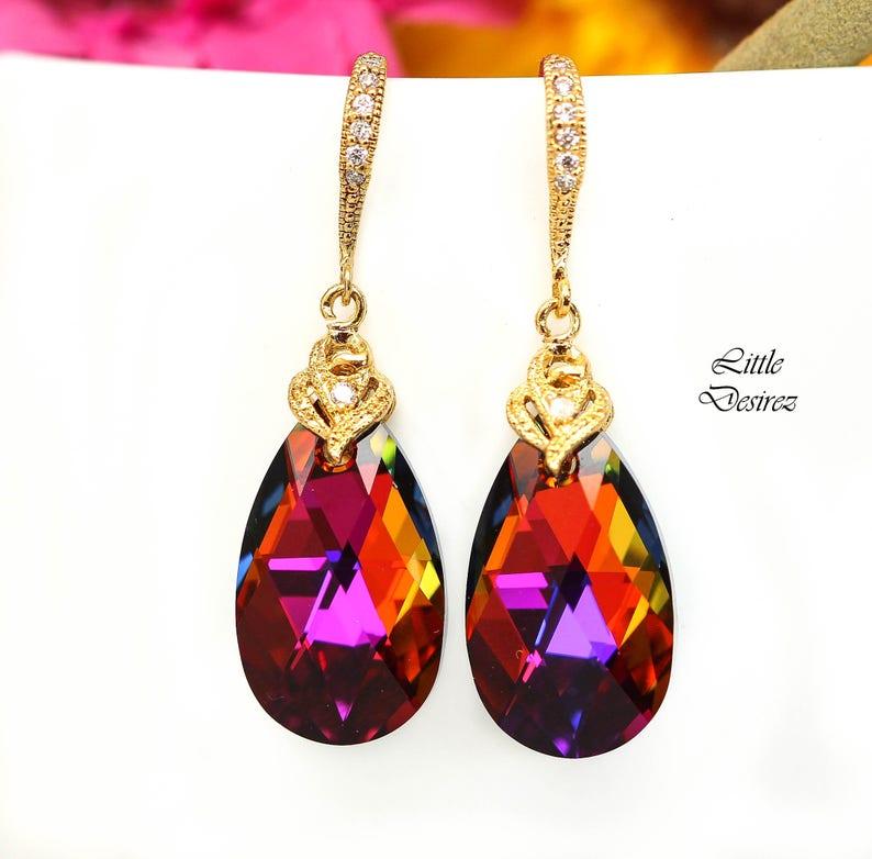 Swarovski Earrings Volcano Crystal VO-32 - Little Desirez