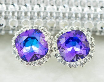 Purple Bridal Earrings Stud Earrings Swarovski Heliotrope Purple and Blue Earrings Bridesmaid Earrings Wedding Earrings Gift for Her HE50S
