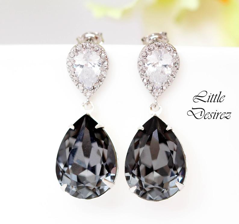 5d2ba1585 Dark Grey Earrings Swarovski Silver Night Earring Black | Etsy