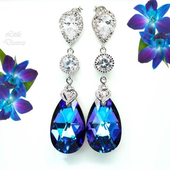 Pear Bridal Jewelry Purple /& Blue Jewelry CZ Earrings Bridesmaid Jewelry Chandelier Earrings Long Bridal Earrings Wives Gift Romantic HE32JS