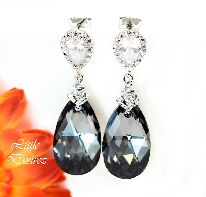 d1ed6652d Grey Earrings Gift for Her Charcoal Earrings Bridesmaid   Etsy