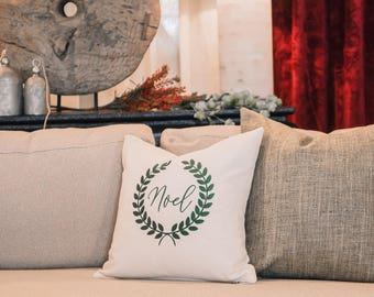 Noel Embroidered Decorative Pillow Cover
