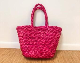 Vintage Pink Straw Handbag : Bijoux Terner Beach Bag Purse Tote