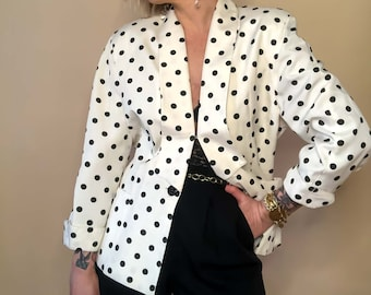 Medium - Large Vintager White and Black Polka Dot Blazer : Dana Cote D'Azur