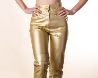 Vintage GOLD Leather pant : XS Small Escada