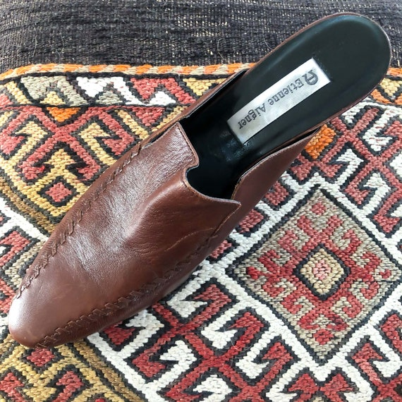 Vintage Brown Leather 1990's Slide On Mules : Siz… - image 5