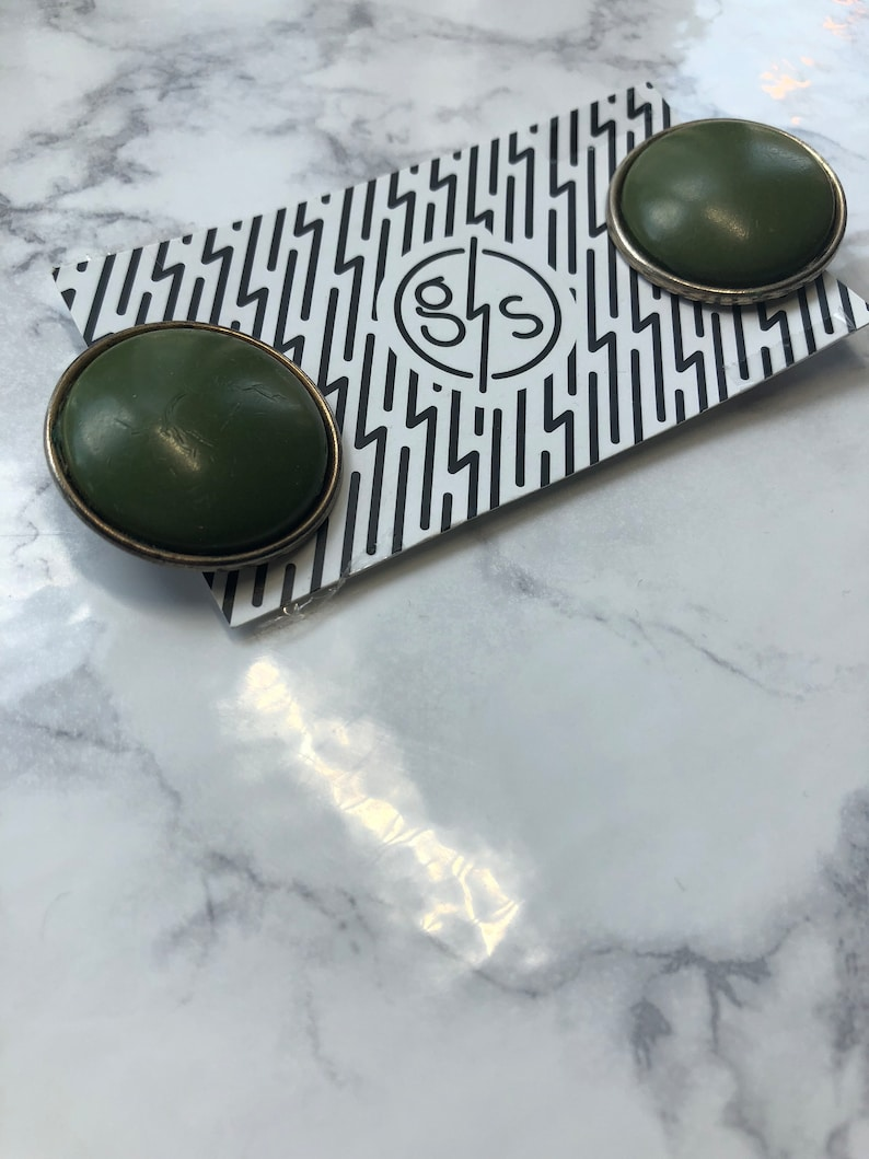 vintage green clip on earrings the olive dot earrings large statement olive green