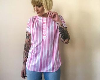 Medium Vintage Pink Stripe Polyester Blouse : Amy Lynn of California