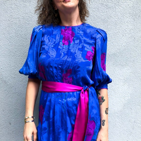 Vintage Blue Silk Dress by Flora Kung : Medium 8