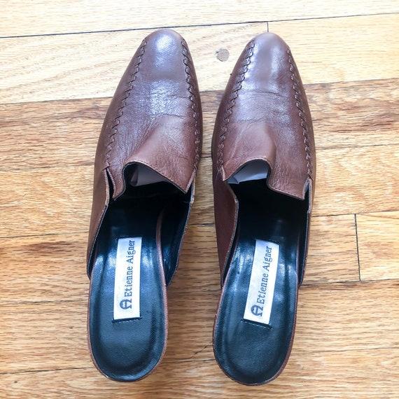 Vintage Brown Leather 1990's Slide On Mules : Siz… - image 7