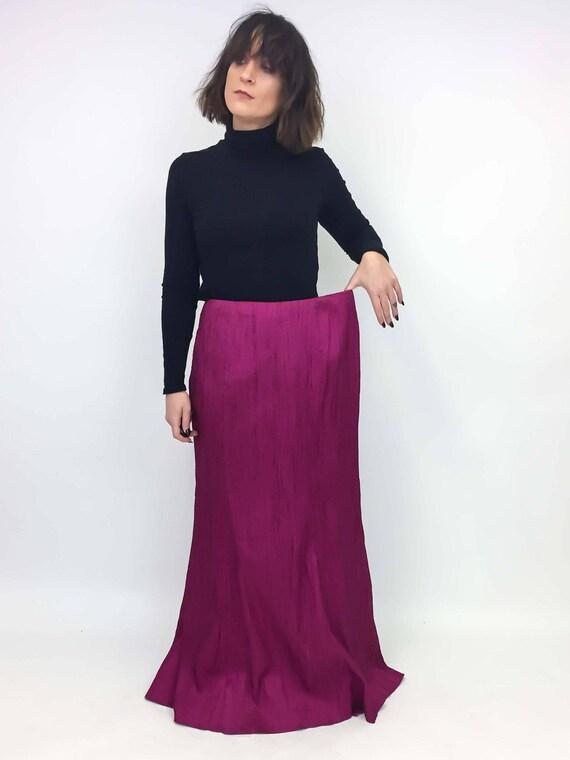vintage fuchsia pink maxi skirt | 12 large XL | th