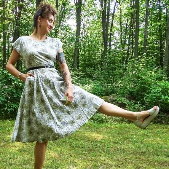 Vintage Printed Cotton Dress 1940's : Large