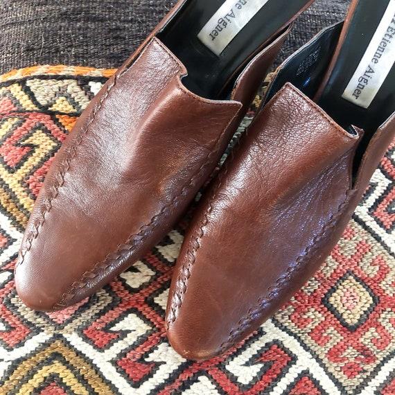 Vintage Brown Leather 1990's Slide On Mules : Siz… - image 2