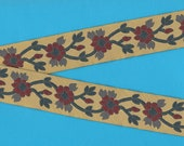 FLORAL G-03 Jacquard Ribbon Trim, Poly, 1-1 4 quot Wide, Victorian, Tan Background w Burgundy Flowers, Gray Leaves, Teal Vines