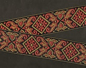 FLORAL H-49-A Jacquard Ribbon Polyester, 1-1 2 quot Wide (38mm) Black Background w Olive Green Rust Diamond Celtic Motif and Scrolls, Per Yard