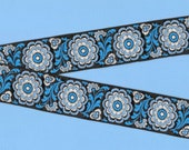 VINTAGE FLORAL G-14 Jacquard Ribbon Trim Rayon 1-1 4 quot Wide Black Background w Variegated Blue Flowers White Accents Priced Per Yard