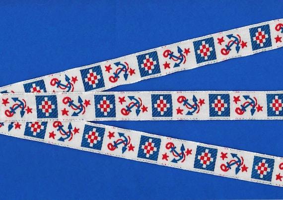"5 Yards SALE Star Blue Design Woven Jacquard Ribbon 1 3//4/""W"
