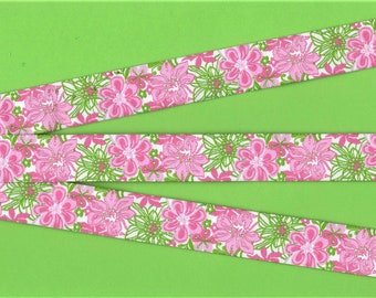 "FLORAL E-DP-05 Jacquard Ribbon Trim, Poly, 7/8"" Wide, Douglas Paquette, Shades of Pink Flowers with Lime Green Leaves, Priced Per Yard"