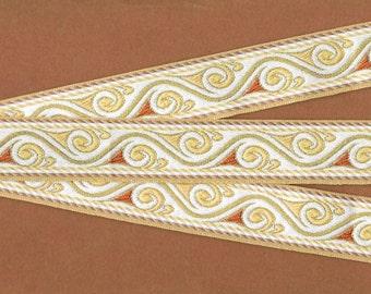 "METALLIC G-10-A Jacquard Ribbon Trim, Rayon, 1-1/4"" Wide, Ivory Background w/Tan, Beige, Rust  and Gold Accents Scrolls, Per Yard"