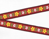 FLORAL F-19-B Jacquard Ribbon Trim, Cotton, 15 16 quot Wide, Red Background Black Borders, White Yellow Flowers, Green Leaves, Priced Per Yard