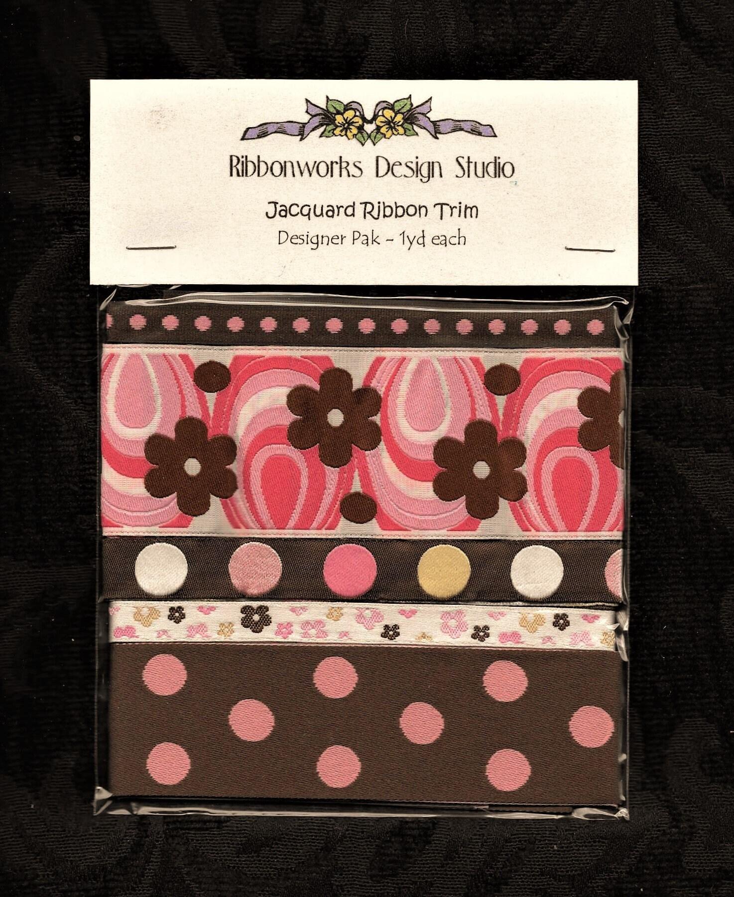 RUBAN RUBAN RUBAN de DESIGNER PAK-8, bordure en ruban Jacquard, Polyester, 1 yard chacune de 5 différents rubans, chocolat, blanc, rose et Ivoire Floral/Polka Dots f3995c