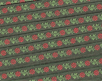 """KAFKA A-02-A Jacquard Ribbon Cotton Trim, 3/8"""" wide (10mm) From Germany, Holiday Floral, Dark Green Red Flowers, Lt Green Leaves, Per Yard"""