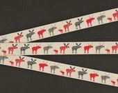 ANIMALS Moose C-01 Jacquard Ribbon Poly Trim, 5 8 quot Wide (16mm) Tan Background, Red Gray Patterned Moose w Black Accents, Per Yard