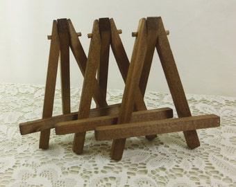Merveilleux Rustic Brown Easels, 3 Small Tabletop Display Hand Stained Wood Easel For  Miniature Art, Wedding Display