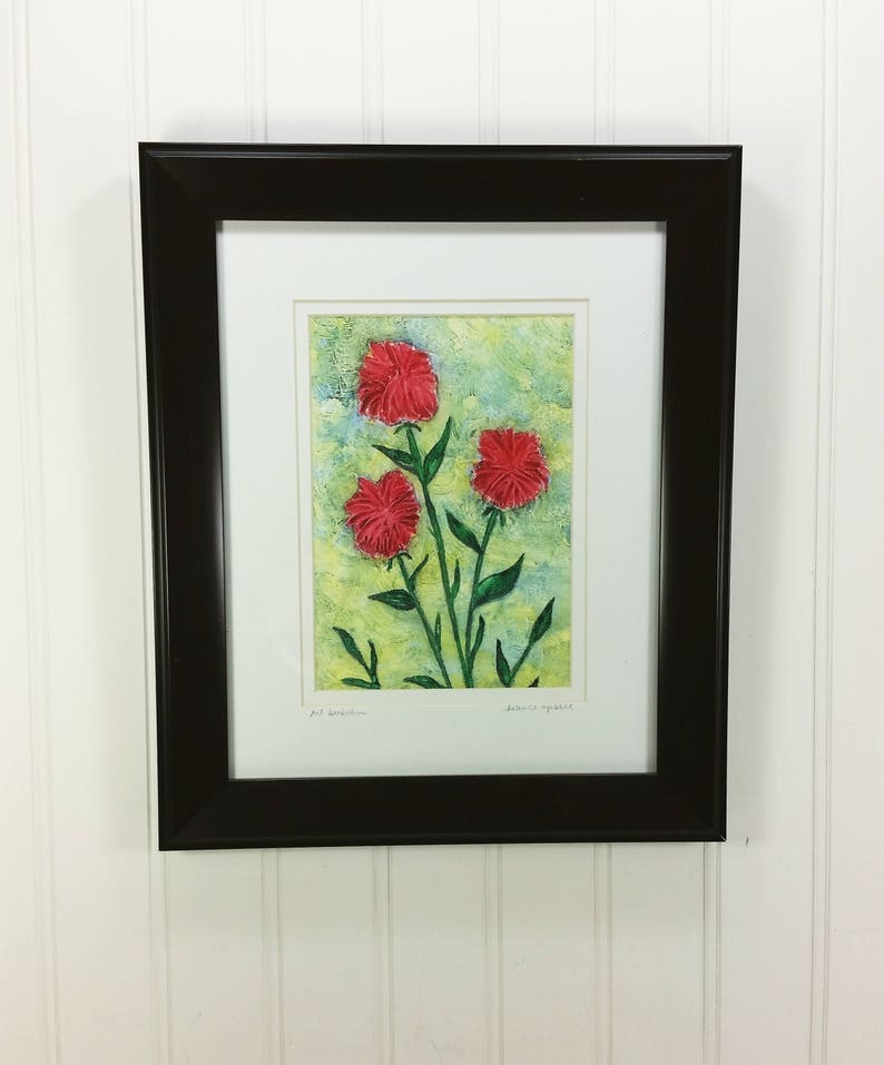 Red Bee Balm Abstract Painting Whimsical Summer Monarda image 0