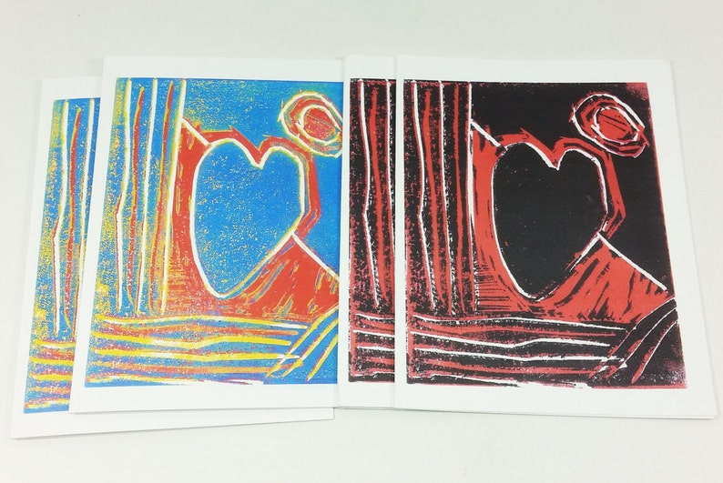 From the Heart Note Cards Block Print Blue Red Black Fine Art image 0