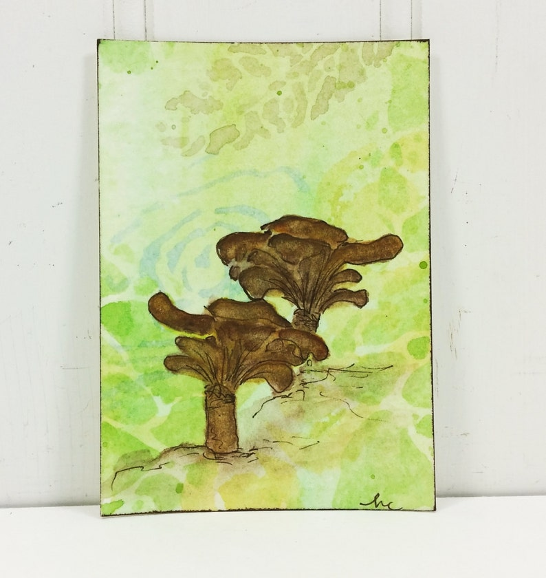 Whimsical Brown Mushrooms ACEO Woodland Fungi Watercolor image 0