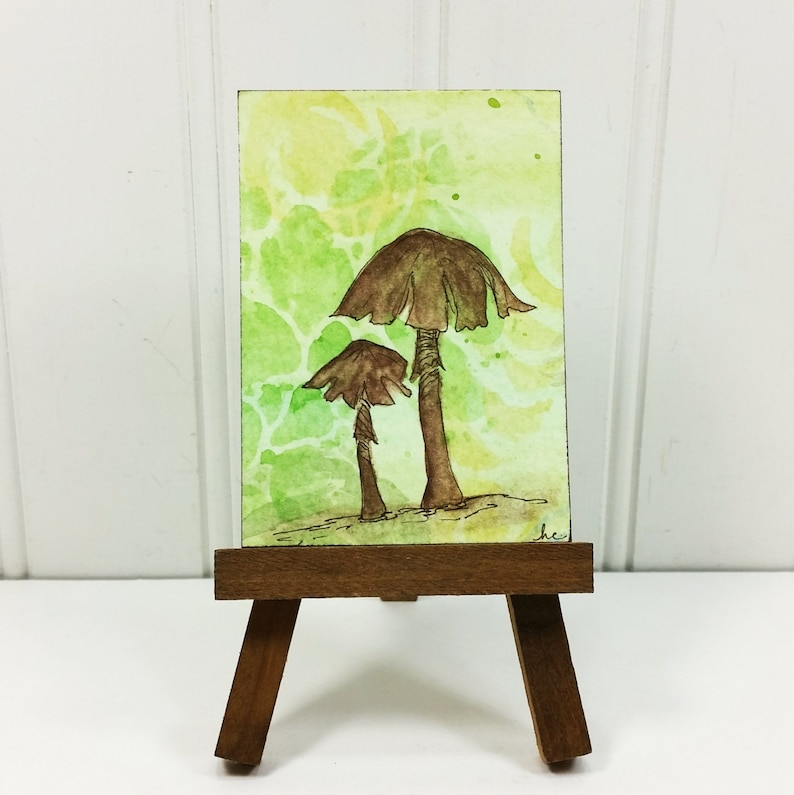 Whimsical Mushroom Miniature Art Woodland Brown Mushroom image 0