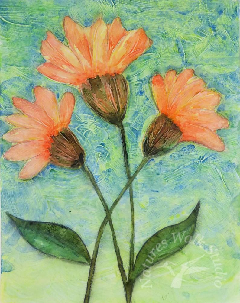 Whimsical Orange Flowers Textured Painting Garden Flowers image 0