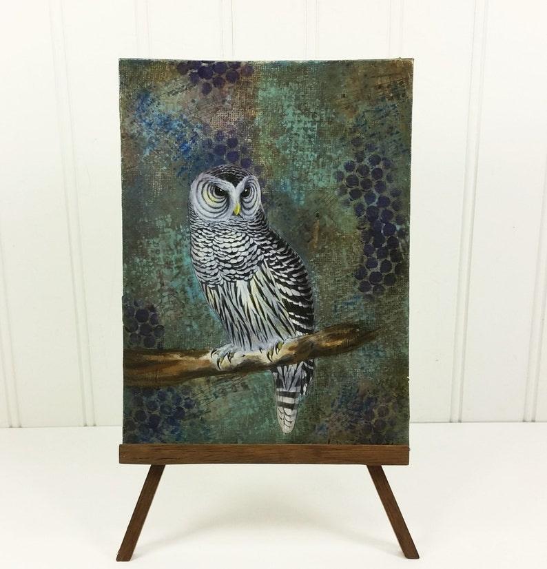 Owl Collage Painting Woodland Night Bird on Blue Mixed Media image 0