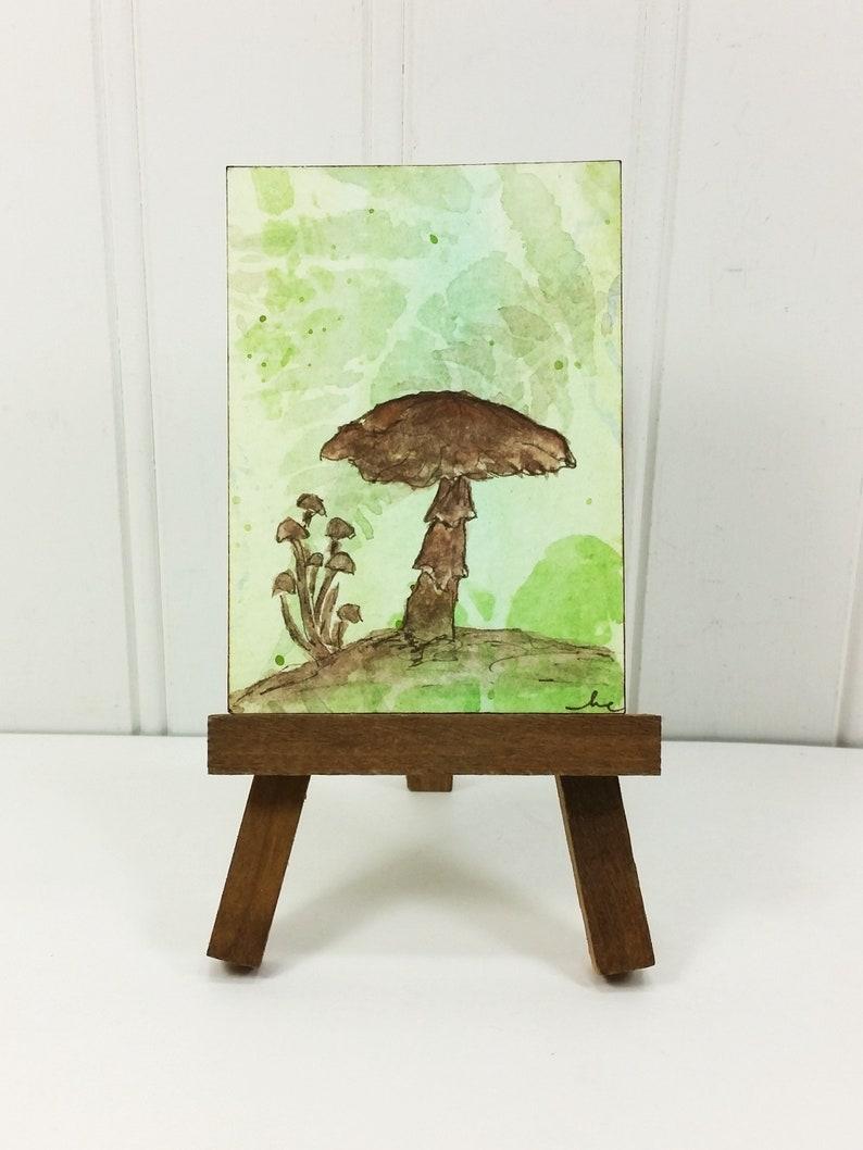 Autumn Mushrooms Painting Woodland Brown Fungi Watercolor image 0