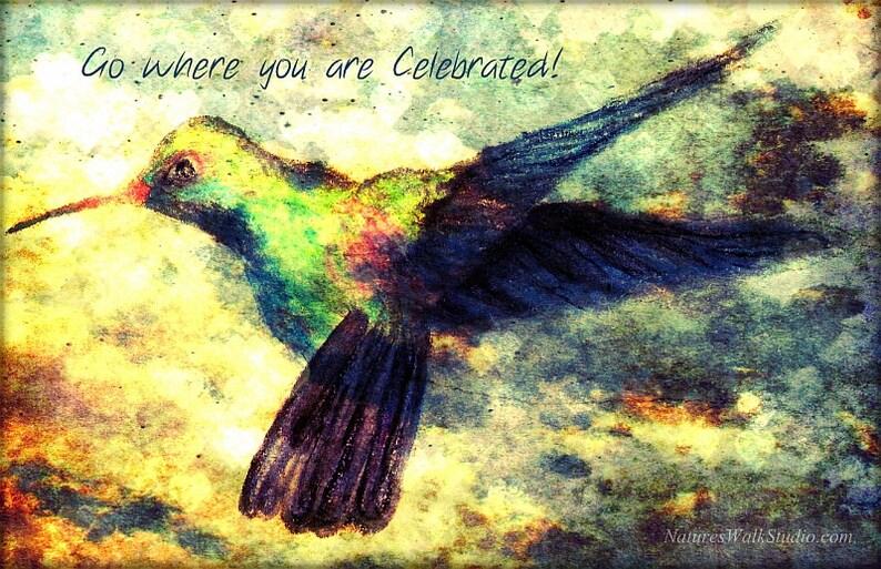 Hummingbird Flight Inspirational Fine Art Drawing Go Where You image 0