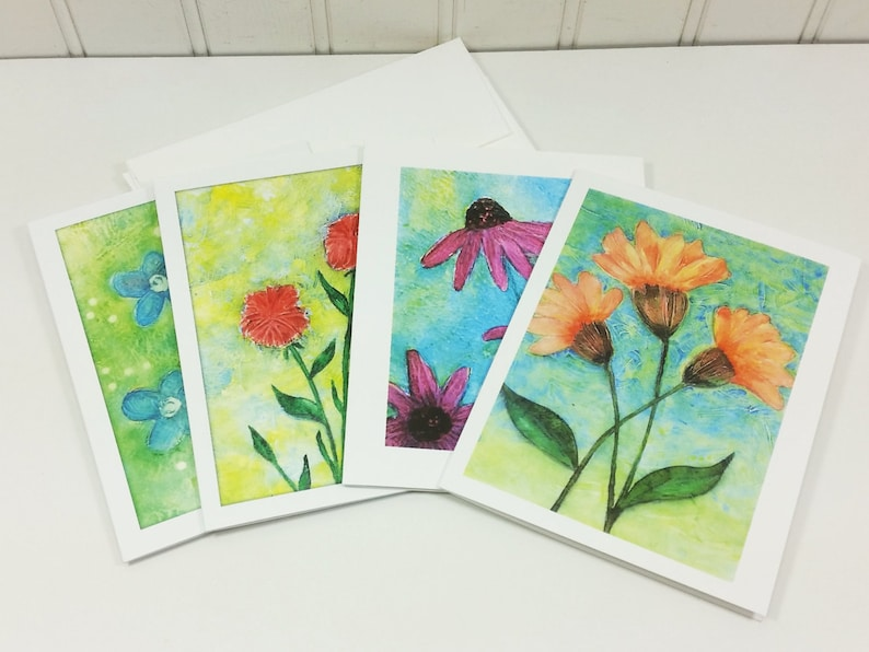 Garden Flowers Note Card Set Watercolor Spring Summer Garden image 0