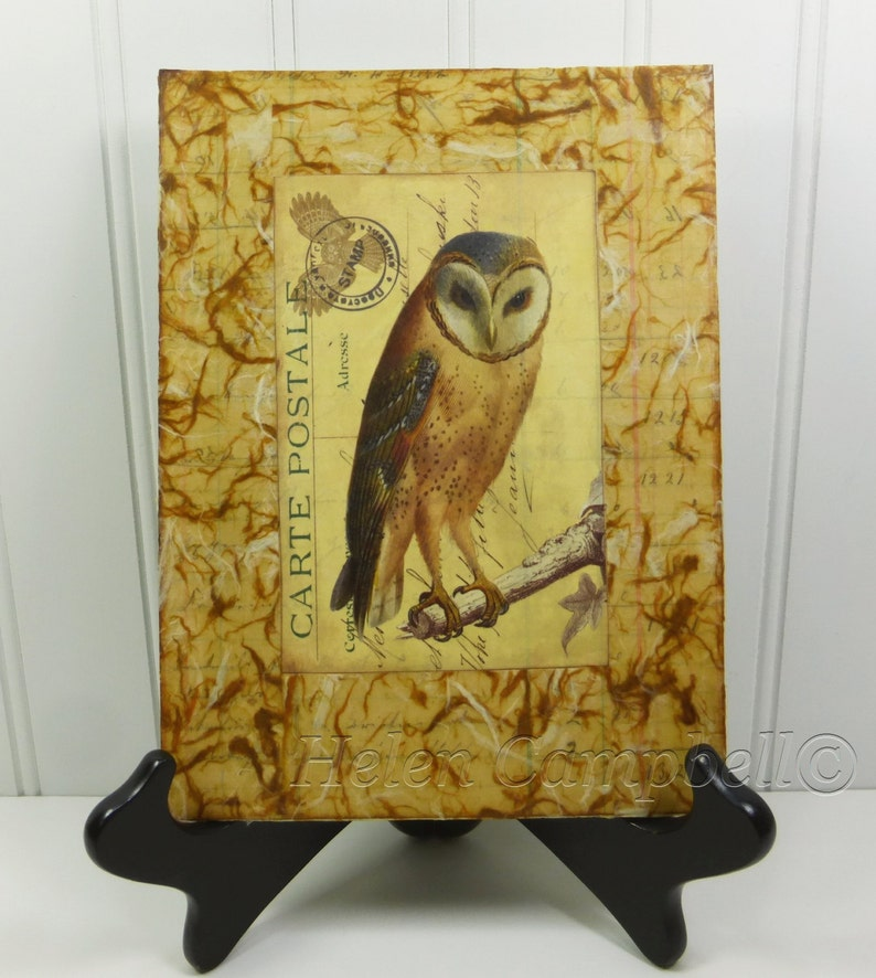 Barn Owl Mixed Media Painting Woodland Brown and Gold Beeswax image 0