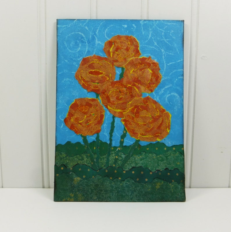 Whimsical Poppies Orange Flower Torn Paper Painting Summer image 0