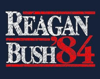 REPUBLICAN TSHIRT Reagan Bush 84 Campaign T-Shirt Donald Trump Political Tee Shirt also available on crewneck sweatshirts and hoodies SM-5XL
