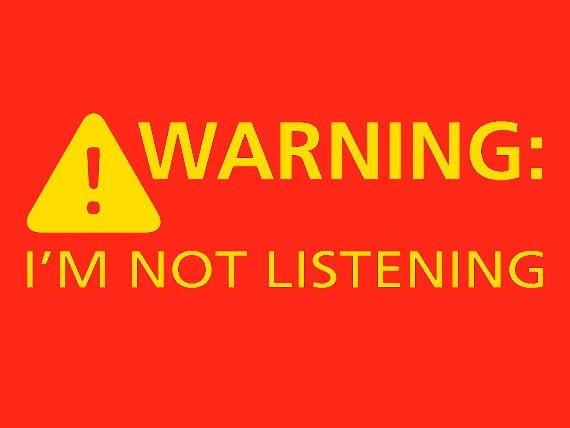 Mens Hoodie Funny Warning Im Not Listening