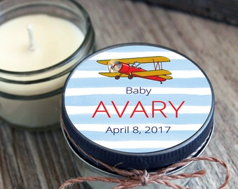 Set of 12 - 4 oz Baby Shower Candle Favor - Soy - Personalized Baby Shower  Favors //Airplane Baby Shower // Stripe Baby Shower//Baby Boy