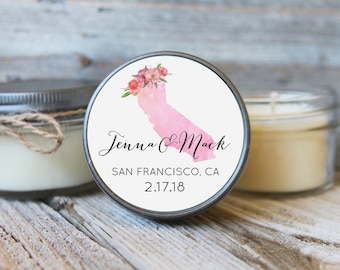 Set of 12 - 4 oz Soy Candle Wedding Favors - Watercolor State Design - California Wedding Favors, Destination Wedding Favors