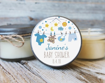 12 - 4 oz Baby Shower Candle Favor Baby Mobile Baby Bear Clothesline Stars and Moon Twinkle Little Star Baby Shower Favors Smiling Star