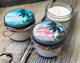 Set of 12 - 4 oz Candle Wedding Favor - Cancun  - Personalized Wedding Favors // Tropical Destination Wedding Favors Bridal Shower Favor