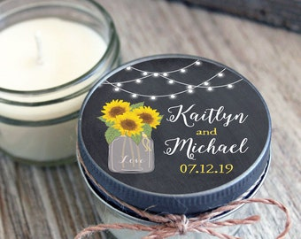 12 - 4 oz Wedding Sunflower & Lights Favor Candles