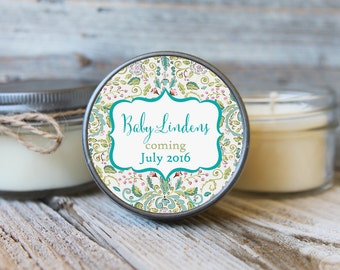 Set of 12 - 4 oz Floral Baby Shower Favor Candle- Personalized Baby Shower Favors // Pretty Baby Shower// Baby Shower Favors